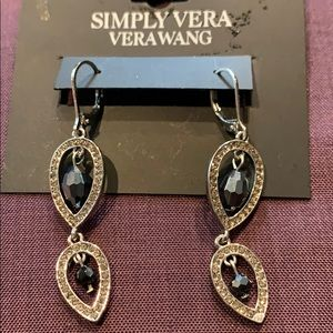 Simply Vera silver and black sparkly earrings
